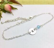 Silver Initial & Birthstone Chain Bracelet Personalised Gift