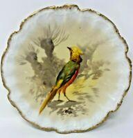 "ANTIQUE LIMOGES J & B BIRD PLATE GOLD SCALLOPED EDGE ARTIST SIGN LUC 9 1/2"""