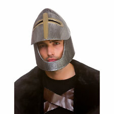 Medieval Knight Helmet Silver Adults Roman Gladiator Fancy Dress Costume