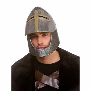 Medieval Knight Helmet Silver Adults Roman Gladiator Fancy Dress Costume