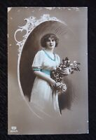Vintage Photo Postcard by E A Schwerdtleger - LADY with FLOWERS - printed Berlin