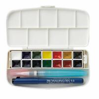 Kuretake Gansai Tambi Watercolor Compact 14 Color Set Brush Pen Palette KG301-1