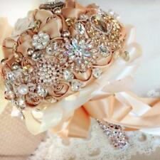 24Cm Pearls Rhinestone Roses Champagne Gold Wedding Bridal Bouquet Flower Luxury