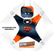 DJI Phantom 4 Pro Skin Wrap Decal Sticker Battery Body Orange Grey HoneyComb ...