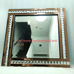 Square Wall Mirror Gold Copper Brown Bronze Sparkly Silver Crystal 60x60cm
