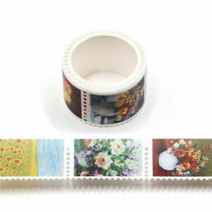 Floral Washi Tape Stamps Flower Paintings Still Life Art Die Cut Stickers 3m