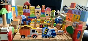Mixed Lot 173 Building Blocks Natural Wood Color Printed Wood 64 Different Shape