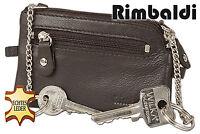 Rinaldo® flache Leder Schlüsseltasche mit 2 Schlüsselketten in Dunkelbraun