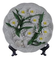 "10"" Hand-woven Fretwork White Porcelain Decorative Display Plate Daffodil Dehua"