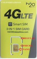 H2O wireless 4G LTE sim card (standard, micro and nano) AT&T network prepaid