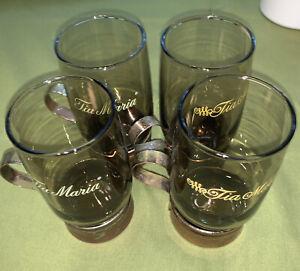 Set of 4 Tia Maria Liqueur Mug Glasses 6oz. with Copper Tone Pedestals