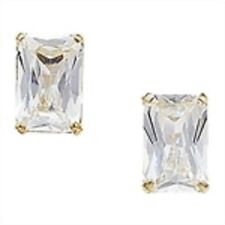 9ct Gold Emerald Cut Cubic Zirconia Stud Earrings 0.66g
