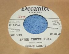 Vinnie Monte ~ I Believe / After You've Gone ~ Promo ~ (VG+)