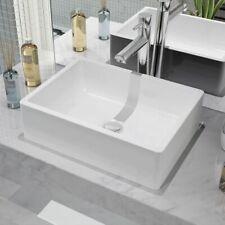 0dd935d9d030 vidaXL Lavabo Cuadrado Moderno Cerámica Blanco Lavamanos Aseo Cuarto de Baño