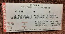 1994 ST.LOUIS BLUES vs MONTREAL CANADIENS  NHL HOCKEY Ticket Stub   FORUM