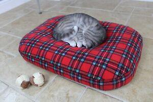 Bean Bag Cat Bed, Luxury Soft Orthopedic Red Tartan Pet Cushion Nesting Bed, UK