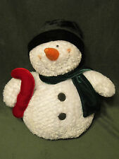 """TRI RUSS INT~White SNOWMAN with Stocking Hat Scarf Candy Cane~11"""" Plush #75634"""