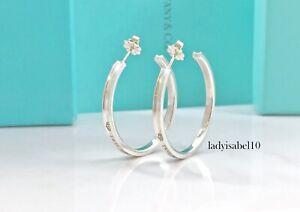 Tiffany & Co. 1837 Narrow 28mm Love Hoop Earrings Silver AG925 w Box Gift 21819A