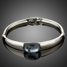 Fashion Grey Silver Austria Crystal White Gold Plated Bangle Bracelet Jewellery