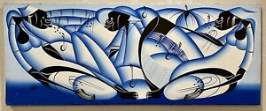Original Abstract Figurative Haitian Painting on Canvas SIGNED 20x50 HAITI