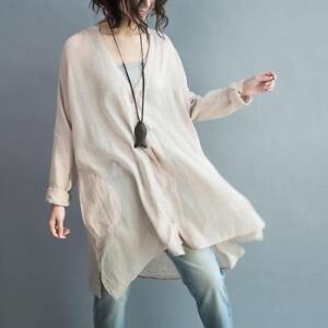 Womens V-Neck Shirt Long Sleeve Loose Cotton Linen Blouse Vest Tops Suit Summer