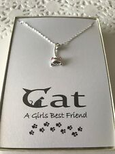 Silver Plated Cat Kitten Pendant Necklace w/ poem