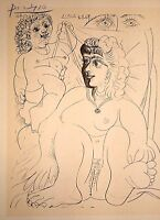 PABLO PICASSO HAND SIGNED SIGNATURE * SERIES: HIS RECENT DRAWINGS * PRINT W/ COA