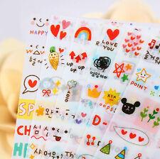 New Cute Calendar Diary Note Book Transparent Sticker Scrapbook Decor 6Sheet