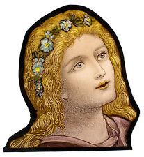 Flower Girl stained glass fragment preraphaelites, kilnfired, glass painting