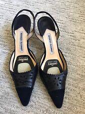 Manolo Blahnik Womens Slingback Medium Heel US 7.5 Eur 37.5 Navy Leather Italy