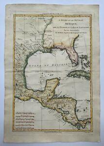 MEXICO FLORIDA LOUISIANA 1780 RIGOBERT BONNE ANTIQUE ENGRAVED MAP 18TH CENTURY