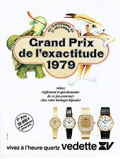 Publicité Advertising 097  1979  Vedette  montres quartz  Grand prix exactitude