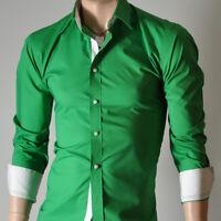 Mens Green Long Sleeve Shirts Casual Formal Slim Fit Shirt 100% Cotton S M L XL