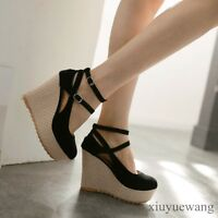 Womens Platform Round Toe Faux Suede Ankle Strap High Wedge Party Shoes Size New