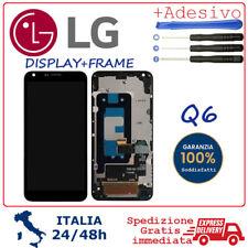 "DISPLAY LCD + FRAME PER LG Q6 M700A Q6+ PLUS M700H SCHERMO VETRO 5.5"" NERO"