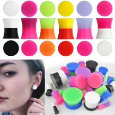 "1-4 Pairs Double Flared 2 Color Tone Silicone Ear Plugs Gauges Sets 6G-9/16"" USA"