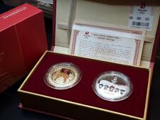 Olimpiadi Beijing 2008 x2 Medaglie Oro Argento Placato Box Originale Fdc [u32]