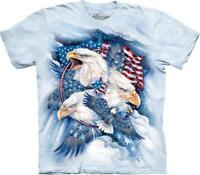 The Mountain Adult Unisex Blue T-Shirt Allegiance Eagle & Flag Sizes S & L NWT.