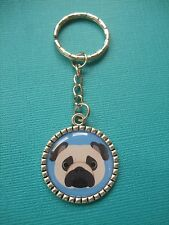 Pug Dog Face Keyring Dog Puppy Metal Handmade Bag Charm Blue Silver Key Ring