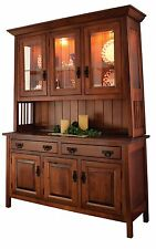 Amish Dining Room Arts & Crafts Hutch China Cabinet Solid Wood
