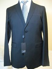 Pal Zileri Lab solid black wool suit 40-42 R NEW WT! STAPLE! flat front vented!