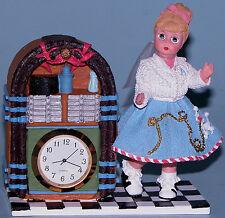 "Madame Alexander resin doll music box, clock ""1950 Sock Hop"" #90755 poodle skirt"