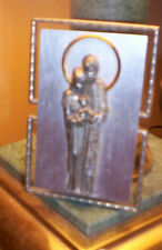 Religious Icon~ A.L. Pure Pewter ~ Plaque With Mary Joseph & Baby Jesus~ Italy