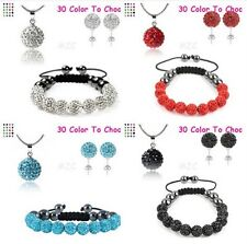 4set/lot 10mm mixed clay crystal shamballa set earring necklace pendant bracelet
