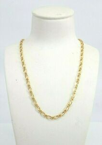 Miran 9K Solid Gold Oval Figaro Chain, Bracelet Set Made in ITALY