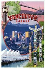 Vancouver British Columbia Canada Montage Totem Poles Clock etc. Modern Postcard