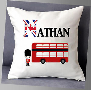 """PERSONALISED NAME CUSHION COVER 16""""x16"""" CHILDREN LONDON RED BUS SOLDIER"""