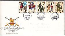 LETTRE FDC ROYAUME UNI SERIE TIMBRE 1094  A 1098 L ARMEE BRITANIQUE 1983