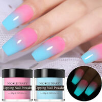 2Boxes NICOLE DIARY Luminous Dipping Powder Glitter Shining Nail Art No UV Lamp
