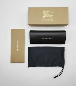 BURBERRY Authentic Sunglasses Eyeglasses Hard Black Leather Case, Pouch NWB